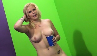 Sexy Kierstin receives drilled and cum on her tits, then toys her way to a squirt