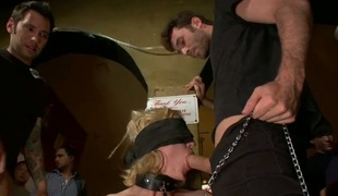 Coarse and explicit group pleasuring for nasty sex slaves