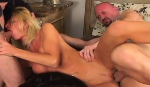 Luscious blonde housewife has 3 hung boys sharing her fiery holes
