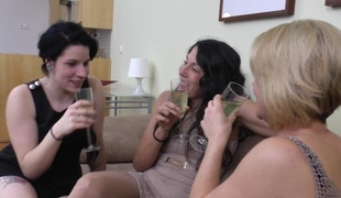 Lesbians share champagne and the sexiest kisses