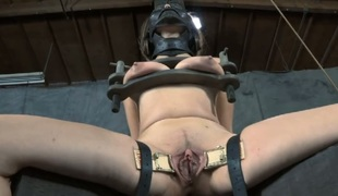 Chained up honey receives doggystyle plowing from tormentor