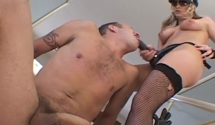 Lecherous pair with femdom fetish enjoy fucking with strap on dildos