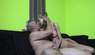 Hawt slim blonde with large hooters Penelope has a excitement for cock