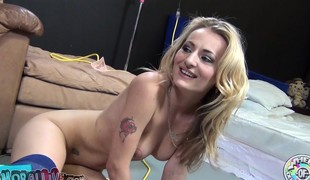 Dazzling blond Natasha Starr enjoys intense orgasms and sucks a rod