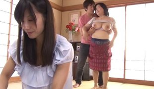 Attacking the scared and fat Japanese hottie with the hard cock
