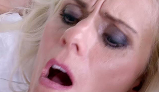 Greatly hot blond haired bombshell Dyana Hawt asked brutal lover to nail her fanny tough