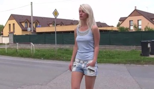 Natural tits blonde in shorts displaying her sexy ass