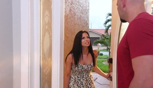 Filthy darksome haired woman Alexis Deen screwed brutally on a couch