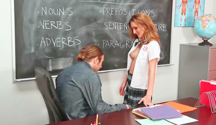 Hot schoolgirl fucks her teacher so this babe could pass the class