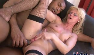 Lustful slut pleasures a big black cock