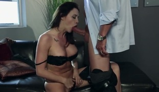 Chanel Preston with giant zeppelins makes dudes sexual fantasies come true with her help of her skillful hands
