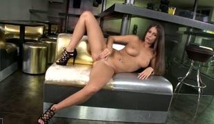 Brunette goddess shows each inch of her body before her masturbates on cam