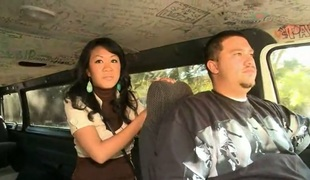 Brunette Akira Lei gets her throat fucked to death by hot guy