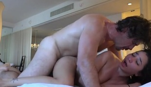 At home with a perspired pair fucking erotically