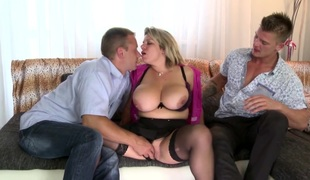 Two studs fuck posh and busty older mamma