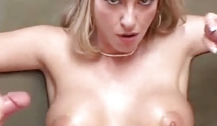 Spruce Blonde enjoys tossing cock