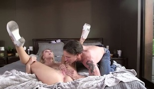 Tony De Sergio makes Natalia Starr screech and shout with his rock hard dick in her beaver