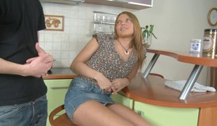 Russian chick with nice arse face screwed roughly in the kitchen