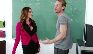 Super busty teacher Ariella Ferrera gives her head and gets fucked on the table