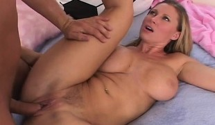Buxom golden-haired MILF eats a hard bone and gets her wet hole pounded