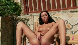Juicy sweetie Bailey dreaming about real sex with real man with dildo in her fuck hole