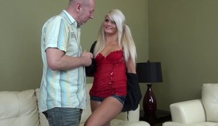 Heavenly blond masturbates with great passion and gets the dick