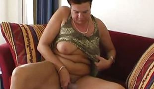 Aged amateur granny playing with her old moist hairy pussy