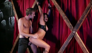 Young skinny chap Danny D with huge beefy cock enjoys fucking inviting taut wazoo oriental doll Lana Violet while she hangs affianced for wooden frame until she has clamorous squirting orgasm.