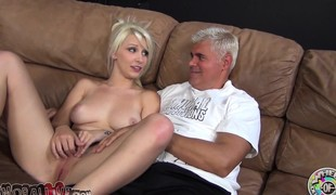 Stunning golden-haired with a heavenly wazoo Stevie Shae worships a lengthy stick