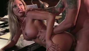 Excited milf Samantha Saint seduces her boss and receives screwed on the table