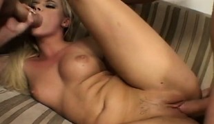 Hot Czech nympho with sweet tits acquires drilled hard by 2 hung studs