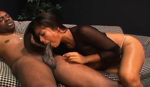 Asian girl chokes on his large dark cock and gets banged in both holes