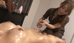 Milf fills the aperture between her legs with sex toy for the camera in solo scene