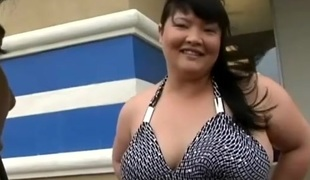 Asian bbw's shaved pussy gets pounded with a naughty and hot horny stud