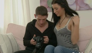 Marvelous teen whimpering with lust getting fucked doggystyle by her Romeo