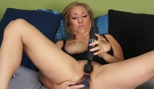 Mom fucks her rubber dick and uses her vibrator to cum